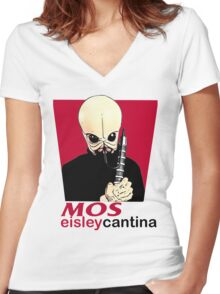 MOS EISLEY CANTINA FAST FOOD T-SHIRT #1 Women's Fitted V-Neck T-Shirt