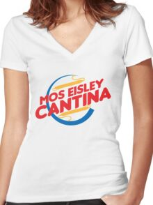 MOS EISLEY CANTINA FAST FOOD T-SHIRT #2 Women's Fitted V-Neck T-Shirt