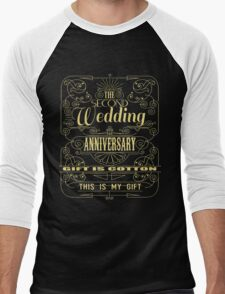 The Second Wedding Anniversary Gift Is Cotton For Him & Her Men's Baseball ¾ T-Shirt