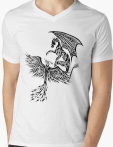 Dragon Fighting 578 Mens V-Neck T-Shirt