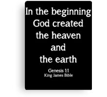 Genesis 1:1 King James Bible Quote Canvas Print