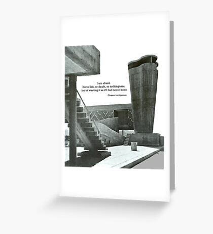 Flowers for Algernon Amongst Brutalist Architecture  Greeting Card