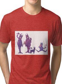 Family of Furry Purple Cyclopes Tri-blend T-Shirt