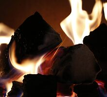 soft focus background of flames from a fire place by artfx