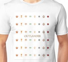 Outlander title and symbols from each book. Unisex T-Shirt