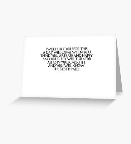 Tyrion- I Will Hurt You for This Greeting Card