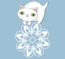Feline Flurries on Light Blue Kids Tee