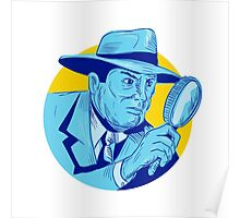 Detective Holding Magnifying Glass Circle Drawing Poster