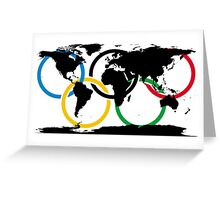 Olympic Ring and World Map Greeting Card