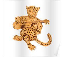 Jaguar Playing Guitar Drawing Poster