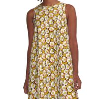 Garnet and Gold Girly Daisy All Over Pattern A-Line Dress