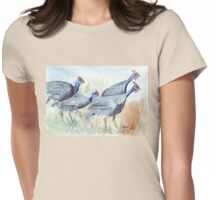 Guinea fowl in my garden Womens Fitted T-Shirt