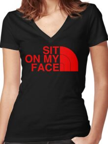 Sit On My Face ( Red Edition ) Women's Fitted V-Neck T-Shirt