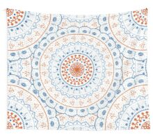 White Red Blue Mandalas Wall Tapestry