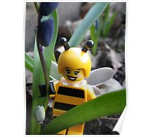 Bumblebee Lady in the Flowers Poster