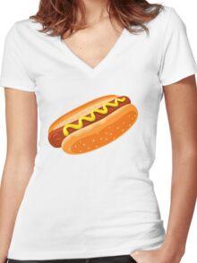Big Hotdog - Yum! - Funny Humor T Shirt Women's Fitted V-Neck T-Shirt