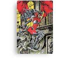 Devil Girl Pinup posing on a Gargoyle Canvas Print