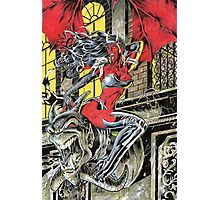 Devil Girl Pinup posing on a Gargoyle Photographic Print