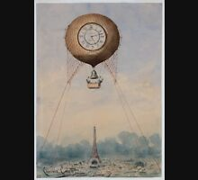 0189 ballooning Captive balloon with clock face and bell floating above the Eiffel Tower Paris France Camille Grávis Unisex T-Shirt