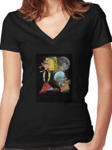 Sponge Memes Women's Fitted V-Neck T-Shirt