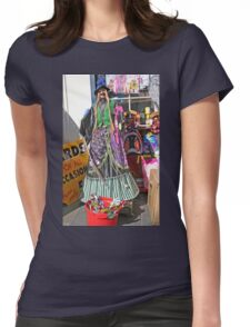 Halloween witch outside a shop Womens Fitted T-Shirt