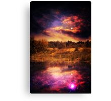 Night Forest and River 4 Canvas Print