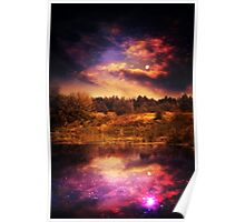 Night Forest and River 4 Poster