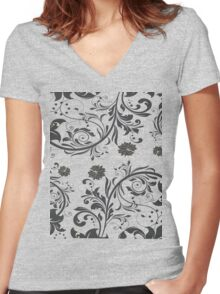floral flower Women's Fitted V-Neck T-Shirt