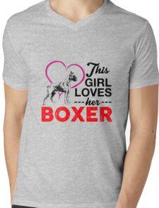 This Girl Loves Her Boxer Mens V-Neck T-Shirt