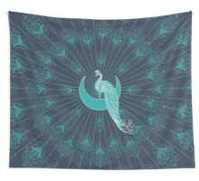 Peafowl On The Moon Wall Tapestry