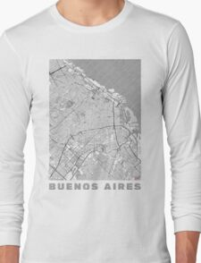 Buenos Aires Map Line Long Sleeve T-Shirt