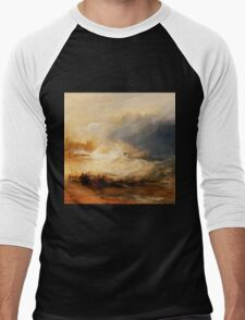 Wreckers Coast of Northumberland by JMW Turner Men's Baseball ¾ T-Shirt
