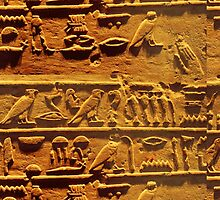 Egyptian hieroglyphs from Karnak temple in Luxor by E ROS