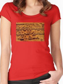 Egyptian hieroglyphs from Karnak temple in Luxor Women's Fitted Scoop T-Shirt