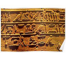 Egyptian hieroglyphs from Karnak temple in Luxor Poster