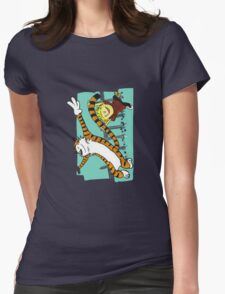 Calvin and Hobbes Dancing left Womens Fitted T-Shirt
