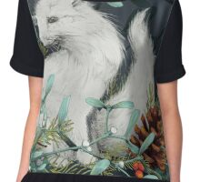 Arctic Fox Holiday Portrait Chiffon Top