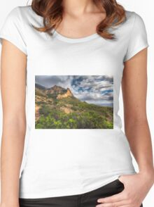The light on the mountain and clouds Women's Fitted Scoop T-Shirt