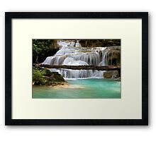 Waterfall With Fallen Tree Framed Print