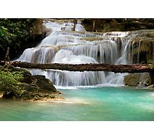 Waterfall With Fallen Tree Photographic Print