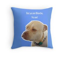 Bailey the Tripod Dog and Blanche in blue Throw Pillow