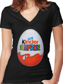Kinder Surprise Chocolate Egg Women's Fitted V-Neck T-Shirt