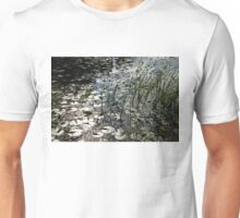 Glossy Silver and Green - Waterlily Pad in the Sunshine Unisex T-Shirt