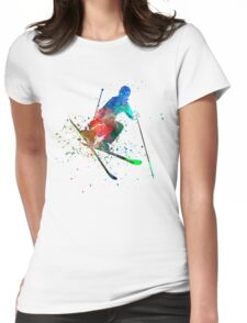 woman skier freestyler jumping Womens Fitted T-Shirt