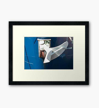 White Anchor On Blue Bow. Framed Print