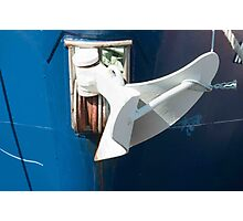 White Anchor On Blue Bow. Photographic Print