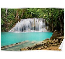 Waterfall in Erawan National Park Poster