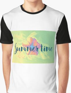 Summer time typographical background with colorful flower. Graphic T-Shirt