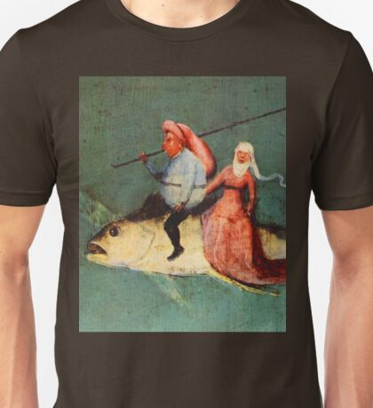 Weird flying fish with riders design by Hieronymus Bosch Unisex T-Shirt