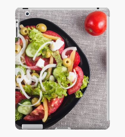 Top view of a small bowl of salad from natural raw vegetables iPad Case/Skin